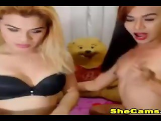 Juicy Couple Shemale Jerking on cam Gone Wild