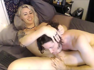 Deepthroating A Petite Shemale Blondie
