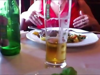 Nylon footjob under table in Polish restaurant