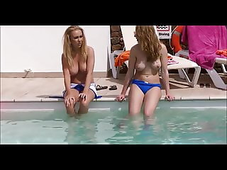 Topless girls at the pool - big tits blond and brunette hot