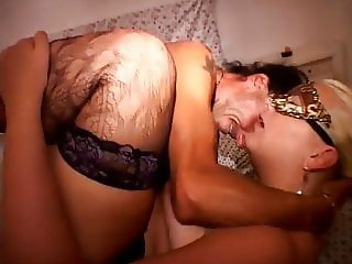 Blonde BBW Fucked By Two Men