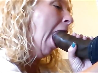Blonde sucks and fucks fat black dick.
