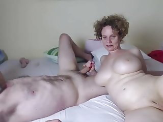 Redhead pale skin milf with big natural boobs having fun