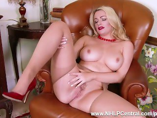 Blonde big tits Penny Lee teases in crotchless nude pantyhose red stilettos
