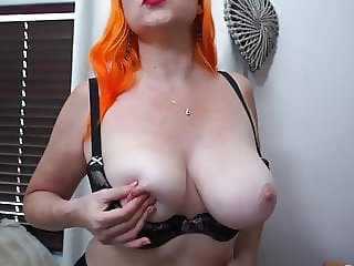 Busty redhead mature mom with hairy hungry pussy