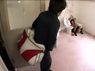 Japanese whore tied to urinal in public restroom begging for piss