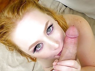 Thick blue eyed redhead with perky tits loves to suck cock
