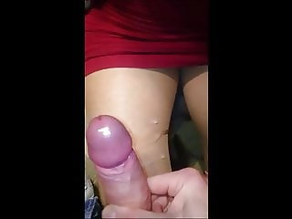 Blow and handjob with cum on pantyhose leg