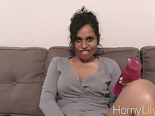 Indian Gorgeous Lady Lily Using A Big Dildo Masturbating