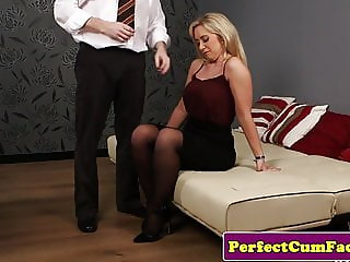 Brit milf doggystyled before swallowing cum
