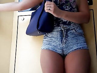Candid Blonde in Wedges and Shorts