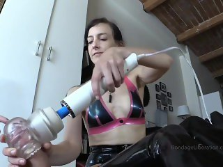 Femdom cable bondage and torture facesitting and teasing