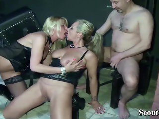 Two German Dominas in Femdom Fuck with her Slave in Dom