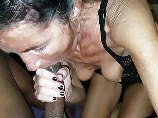 Wet Sticky GILF interracial BJ