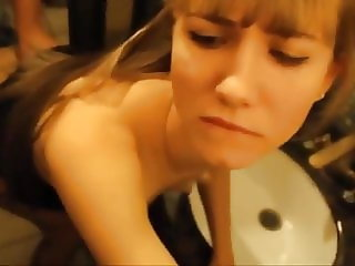 Sex with hot blonde on public toilet