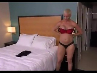 Short haired blonde MILF Anal POV
