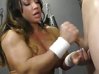 Buff babe with a big clit