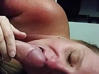Horny BBW MILF slut sucking military cock