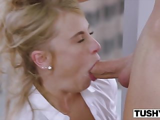 TUSHY Tiny Blonde Has Insane Anal Sex On Work Trip