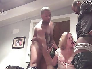Wife is getting threesomed by bbc's while hubby films part 1
