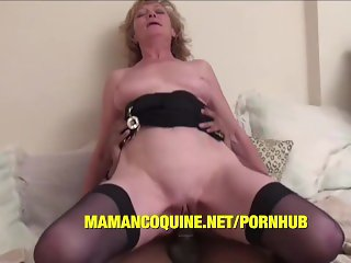 Grandma ghislaine gets a big black cock