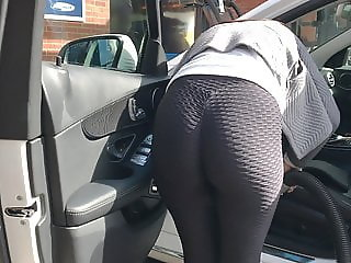 Delicious candid leggings at the car wash.