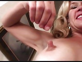 Skinny blonde MILF shows off her big nipples + pretty pussy