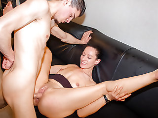 LETSDOEIT - French Cougar Abuses a Young Big Cock