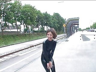 latex girls on train station
