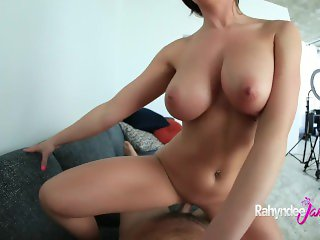 Rahyndee James Showers, Strips and Sucks Cock