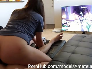 PAWG MILF Gets fucked while playing Overwatch. [HUGE CUMSHOT]