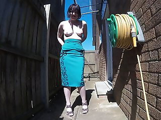Cocktail Dress Outdoors Back Yard Strut