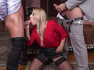 Blonde stockings threesome DP with hubby & his friend