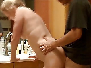 My wife fucked in the bathroom on hidden cam