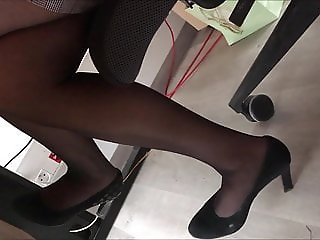 coworker in black pantyhose and high heels II