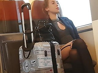 Candid sexy pantyhose girl on train