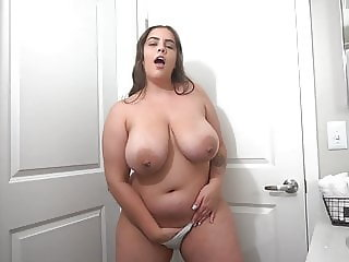 Wank Over Her Massive Tits