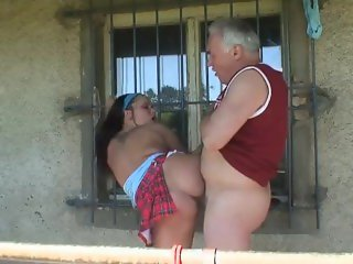 Horny old guy fucks young unripe girl