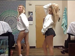 sexy college girls studying each other