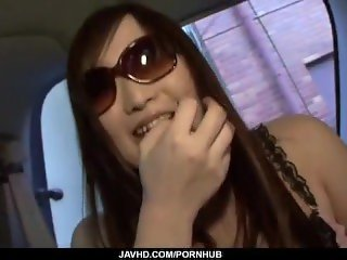 Special blowjob in the car by naughty Japanese Serina