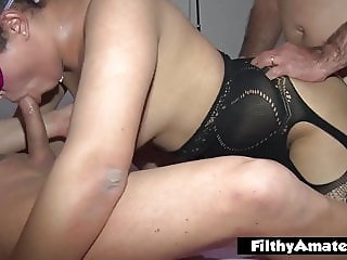We fuck his wife in the ass and then suck his huge clit
