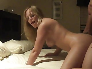 Blonde wife gets fucked in wet shaved pussy!