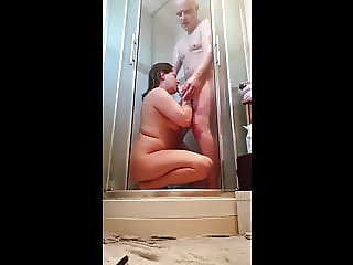 Sexy wife suck and fuck in the shower, Hard face fuck ending