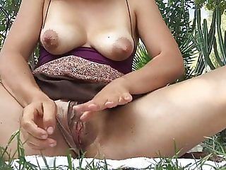 Milky Outdoor Masturbating