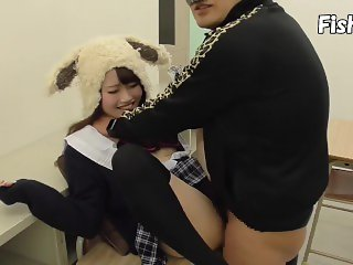 Cute japanese rabbit girl get fuck in classroom