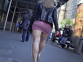 bouncing booty in tight pink sliding miniskirt
