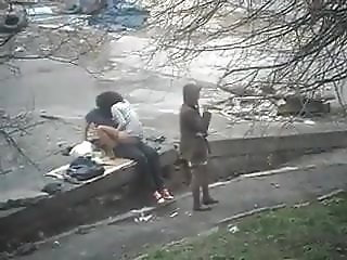 Friend smokes while her friend is shagged