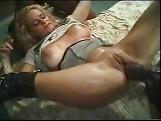 Amazing lady with 2 BBC inserting enormous dildos
