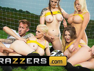 Brazzers - Four soccer sluts share one cock