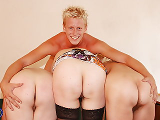 Home porn with 3 mature mothers and lucky son